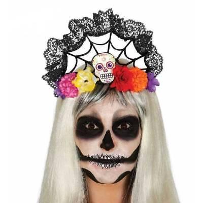 Tag der Toten Schädel Tiara Stirnband Halloween Mexikanisch Damen Kostüm