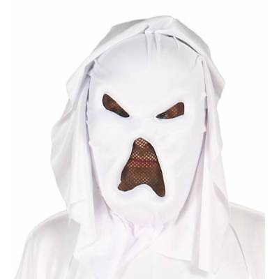 Adult Scary White GHOST Mask Halloween Fancy Dress - Scary White Dress