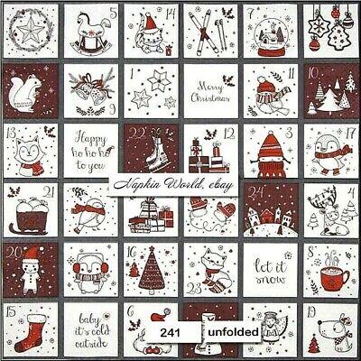(241) TWO Individual Paper LUNCHEON Decoupage Napkins - CHRISTMAS CALENDAR