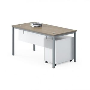New - Modern Straight Desk With Modesty Panel  - #6440