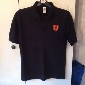 "English Martyrs Black Polo PE Top Size 11-12 Yrs (28""-30"")"