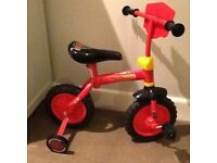 Toddler 'cars' bike red - suitable 2-3 good as new