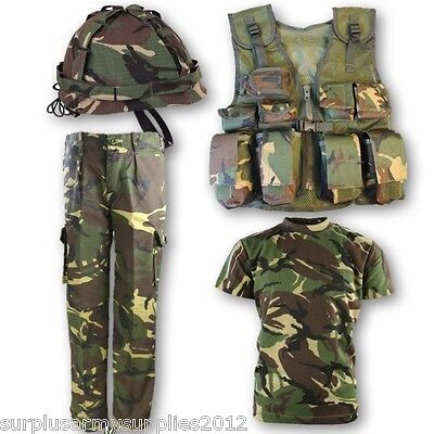 BOYS ARMY SOLDIER OUTFIT KIDS 3-13 TROUSERS T-SHIRT - Kinder Army Outfits