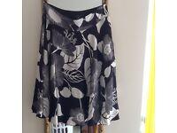 Coast black & white silk skirt size 10
