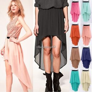 Asym-Hem-Chiffon-Skirt-High-Low-Asymmetrical-Long-Maxi-Dress-Elastic-Waist-C1MY