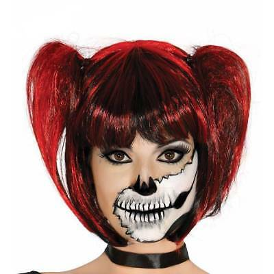 Red & Black Pigtails Wig with Fringe Gothic Halloween Cosplay Fancy Dress](Halloween Costumes With Pigtails)