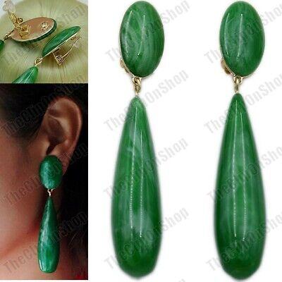 """3.5""""long CLIP ON vintage style GREEN lucite DROP EARRINGS teardrop RETRO 60s"""