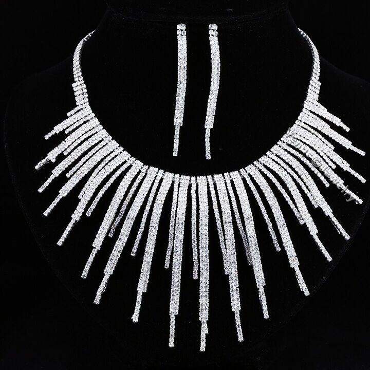 Extravagant Bridal Rhinestone Crysta Wedding Necklace Earrings Set N301