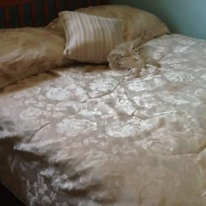Off White Beautiful Double Bed Comforter Pillow Shams, Sheet Set