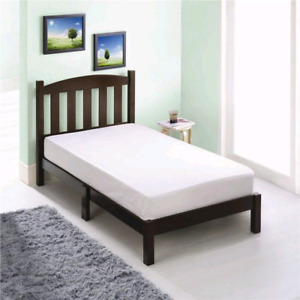 Great value- leather queen and solid wood twin bed in box