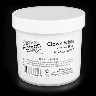 16 oz Clown White extra large theatrical circus face paint stage makeup Mehron  - White Clown Paint