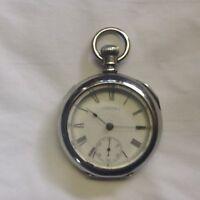 running Antique Waltham keywind key set large pocket watch