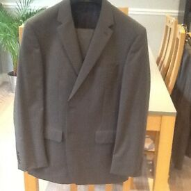Men's grey pinstripe suit