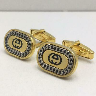 Gucci Cufflinks Interlocking Vintage Men's Jewelry gold silver with box used