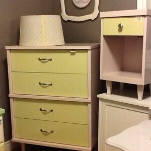 Blush & lime dresser with side table