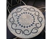 Cream and grey mosaic topped garden table and 4 armchairs