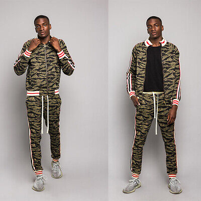 Men's Tiger Camo Track Suit Set with Waistband Track Pants & Jacket S~5XL  ST568