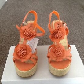 Ladies orange size 4 / 37 wedge sandals 4 1/2 inch heel
