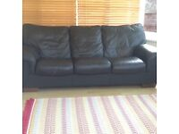 Large 3 seater black leather sofa