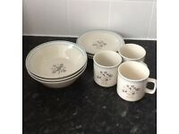 NEW - 3 coffee/tea cups, 3 side plates, 3 cereal/dessert bowls £10