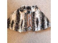 Coast grey fur Bolero shrug cape Wedding S/M