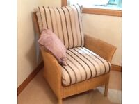 Two Daro Wicker Armchairs with Laura Ashley Covers .