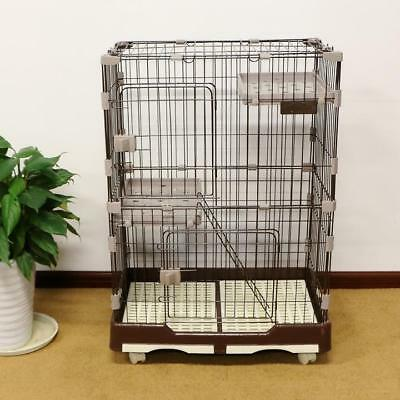 "40""H Folding Cat Cage 2-Door Collapsible Pet Wire Crate w/ Rest Benches &Tray"
