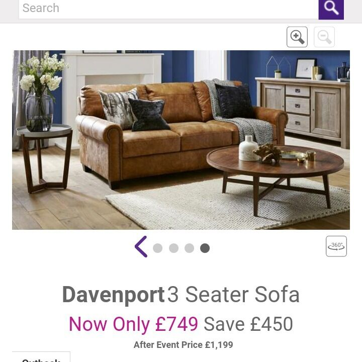 3 Seater Davenport Sofa From Dfs 2 Months Old