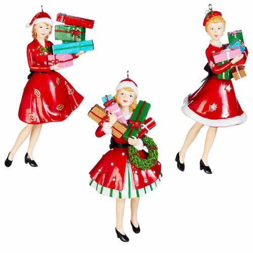 Holiday Shopper Retro Mid Century Girls Christmas Shopping Set of 3 Ornaments