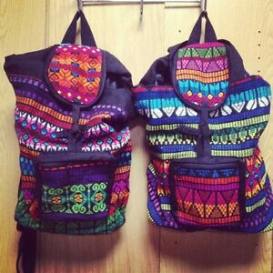 (1) Guatemalan Hippie Colorful Striped Hand Woven Cotton BACKPACK bag tote