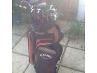 Set of Left Hand Golf Clubs inc Cart Bag & trolley