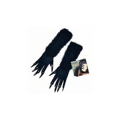 Fancy Dress Halloween Cat (Halloween Cat Woman Gloves Black Furry and Attached Claws Ladies Fancy)