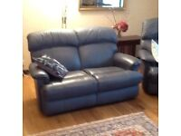 Blue leather recliner chair. Two seater recliner sofa.Two seater sofa