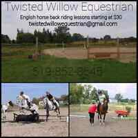 English horse back riding lessons available