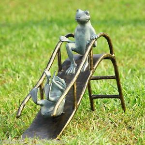 25 w whimsical frogs slide garden statue sculpture outdoor for Whimsical garden statues