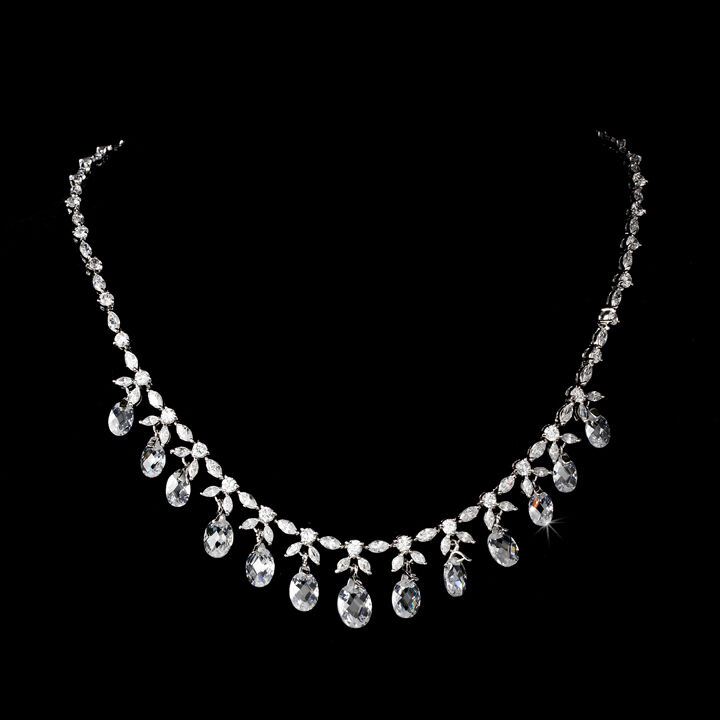 Antique Silver Clear CZ Crystal Dangle Prom Bridal Drop Necklace Jewelry Set