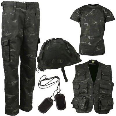 Armee Kinder Kostüme (Welttag des Buches Jungen Armee Kinderkostüme 3-13 Hosen T-Shirt Helm Schwarz)