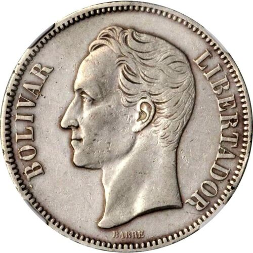 1889 Venezuela 5 Bolivares, NGC XF Details - Spot Removed, KM Y-24.1 Scarce Date