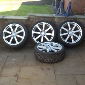 4 VW alloy wheels and tyres mk 1,2,3 golf ,polo