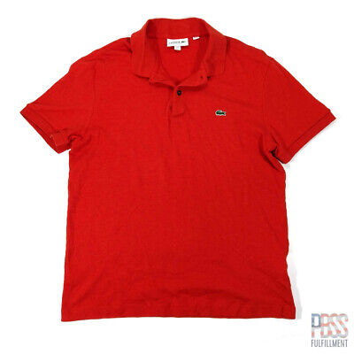 Lacoste Size 5 Mens L Short Sleeve Regular Fit Cotton Polo Shirt Red