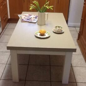 HANDMADE LOW COFFEE/CHILDS PLAY TABLE PAINTED GRE/WHITE