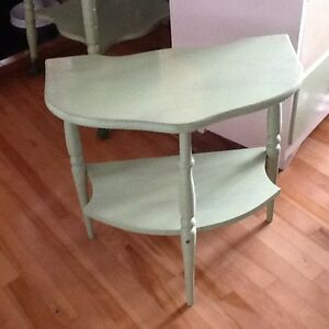 Green & cream half moon side tables $35 each