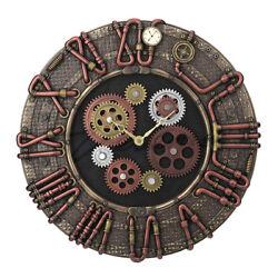 Steampunk Timepiece 15Cold Cast  Brass Conduit Wall Clock