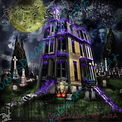 Original Addams Family Halloween (Addams Family Original TV Show Halloween Haunted Home Morticia Gomez Art Print)