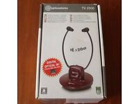 AMPLICOMMS TV 2500 WIRELESS HEADSET WITH AMPLIFIER.( NOTE:USED ONCE.