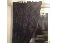 Black damask Next Curtains x2 and matching Roman blinds x2