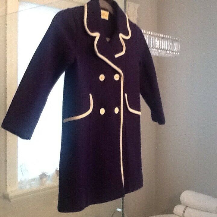 Little Girls Vintage Spring Coat Size 6 Navy/white Mod Style Well Dressed