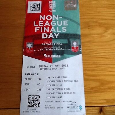 Bromley Used Ticket Stub. Non League Finals Day 2018
