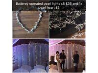 Wedding items, cherry blossom trees, lights and lanterns