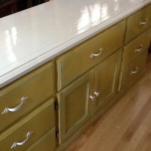 Yellow and white console dresser